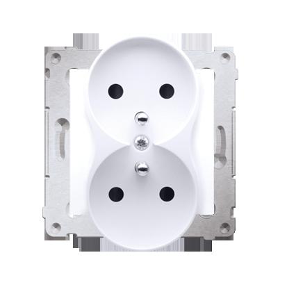 Gniazdo wtyczkowe podwójne z uziemieniem z przesłonami - do Ramek PREMIUM (moduł) 16A 250V, zaciski śrubowe, biały