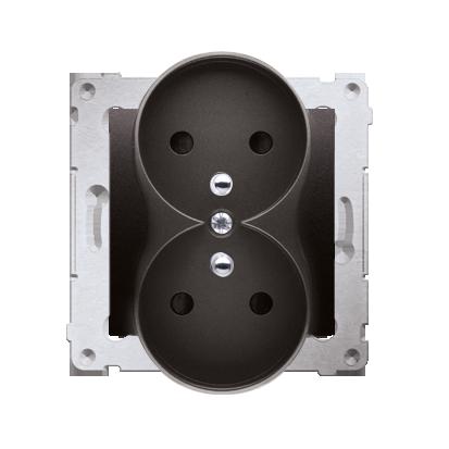 Gniazdo wtyczkowe podwójne z uziemieniem z przesłonami - do Ramek PREMIUM (moduł) 16A 250V, zaciski śrubowe, antracyt, metalizow