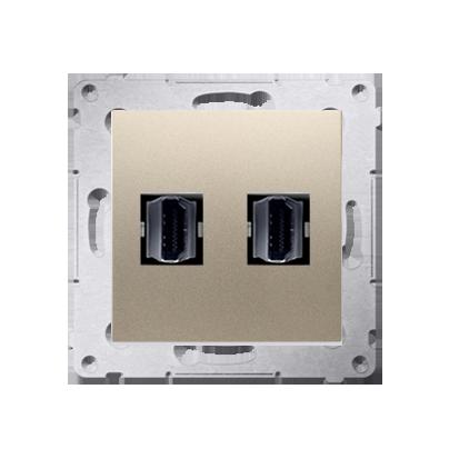 Gniazdo HDMI podwójne złoty mat, metalizowany
