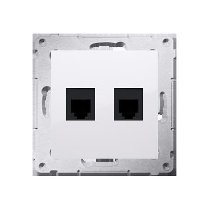 Gniazdo telefoniczne podwójne RJ12 (moduł) biały