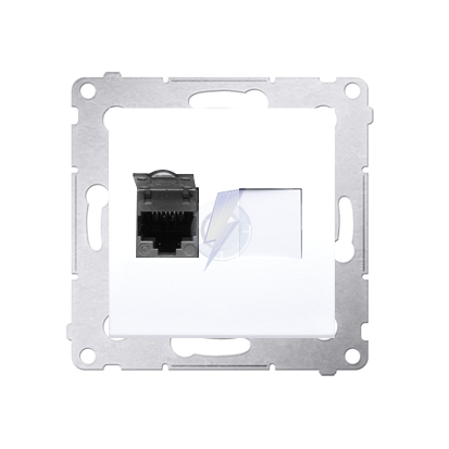Gniazdo komputerowe pojedyncze ekranowane RJ45 kategoria 6, z przesłoną przeciwkurzową (moduł) biały