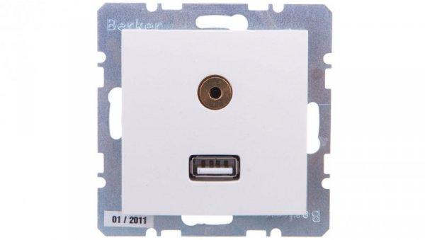 Berker/B.Kwadrat Gniazdo USB 3,5mm Audio kremowe połysk 3315398982