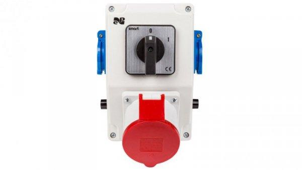 Zestaw instalacyjny z gniazdem 32A 5P+2x2P+Z RS-Z (0-1) czerwony 6276-00