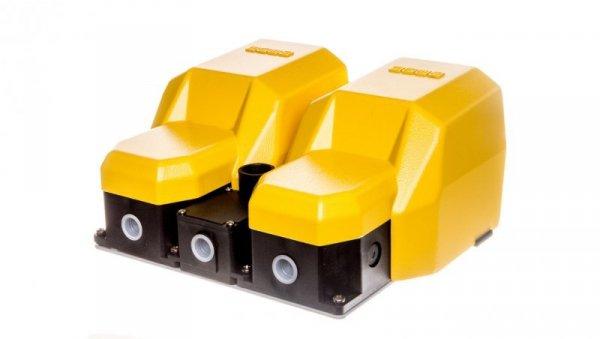 Wyłącznik nożny podwójny z osłoną żółty metal 1Z 1R   2Z 2R 2 kroki T0-PDKA22BG20