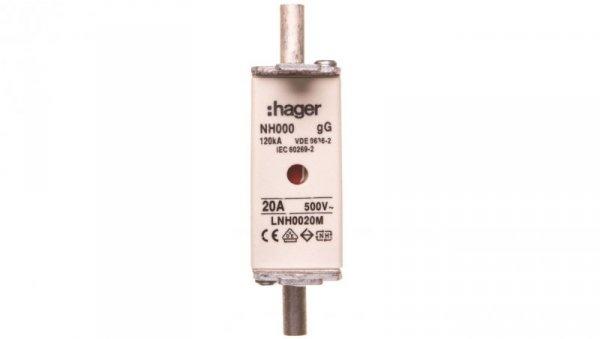 Wkładka bezpiecznikowa NH000 20A 500V gG LNH0020M