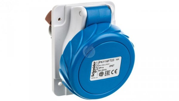 Gniazdo przemysłowe, kątowe, 16A, 2p+E, 200...250 V AC, IP 67 PKY16F723