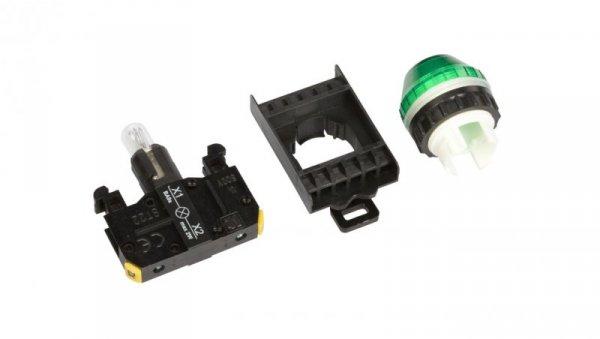 Lampka sygnalizacyjna 22mm zielona 230V AC żarówka ST22-LZ-230-BA9S.
