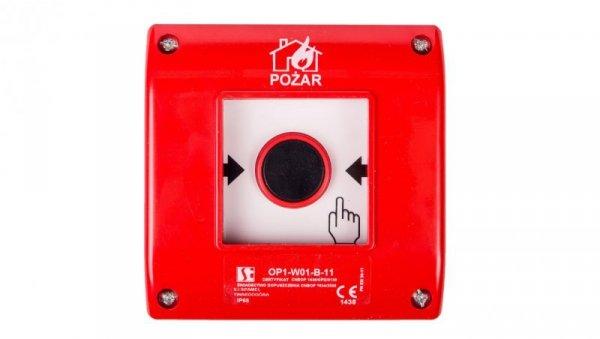 Przycisk ppoż. natynkowy 1Z 1R czerwony OP1-W01-B11