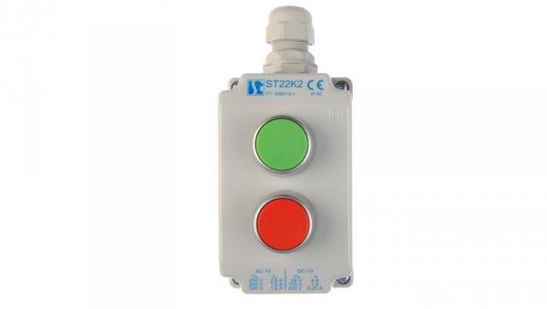 Kaseta sterownicza 2-otworowa z przyciskami zielony/czerwony IP65 ST22K201-1