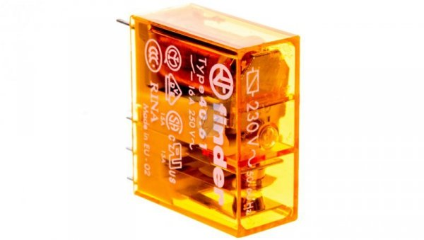 Przekaźnik miniaturowy 1P 16A 230V AC AgCdO 40.61.8.230.0000