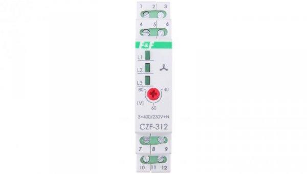 Przekaźnik zaniku i asymetrii faz 5A 1Z1R bez opóźnienia 0,2sek 40-55V CZF-312