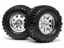 MOUNTED SUPER MUDDERS TIRE 165x88mm on RINGZ WHEEL SHINY CHROME