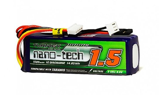Nano-tech 1500mAh LiFe 3S 9.9V Transmitter Pack (Taranis Compatible)