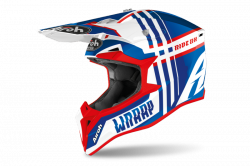 AIROH  KASK OFF-ROAD WRAAP BROKEN BLUE/RED GLOSS
