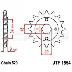 Zębatka przednia JT F1554-13, 13Z, rozmiar 520 2201068 Hyosung GV 250