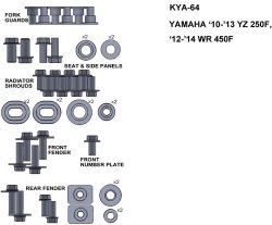 KEITI  KYA-64 ZESTAW ŚRUB DO YAMAHA 10-13 YZ 250F 12-14 WR 450F