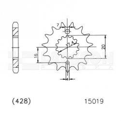 Zębatka przednia JT 50-15019-16, 16Z, rozmiar 428 2201092 MZ/MUZ SM 125