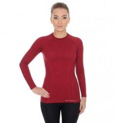 BRUBECK koszulka ACTIVE WOOL damska burgund