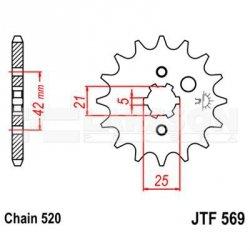 Zębatka przednia JT F569-12, 12Z, rozmiar 520 2201065 Yamaha YFM 125