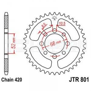 Zębatka tylna stalowa JT 801-50, 50Z, rozmiar 420 2300075 Suzuki LT 50