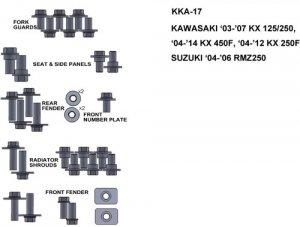 ZESTAW ŚRUB KEITI DO KAWASAKI 03-07 KX 125/250 04