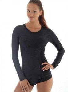 Brubeck LS11610 Koszulka damska z długim rękawem COMFORT WOOL czarny