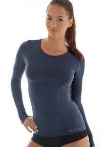 Brubeck LS11610 Koszulka damska z długim rękawem COMFORT WOOL ciemny jeans