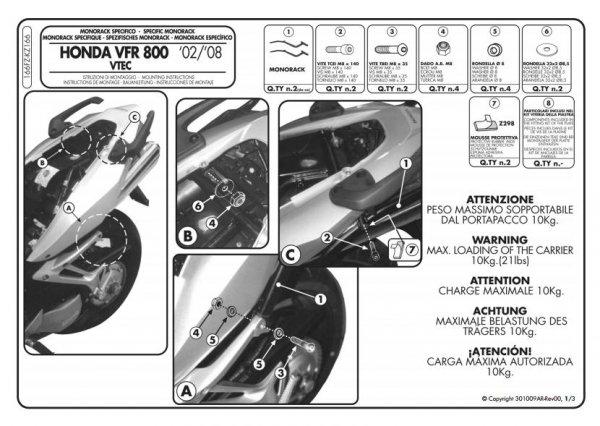 Stelaż centralny Givi 166FZ VFR 800 VTEC (02>11)