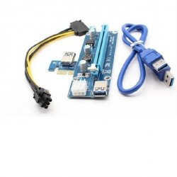 Karta rozszerzeń Riser Qoltec PCI-E 1x-16x | USB 3.0 | SATA/PCI-E 6pin