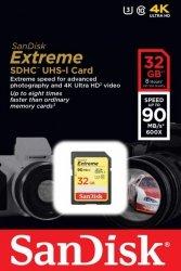 Karta pamięci SDHC SanDisk Extreme 32GB 90MB/s Class 10 UHS-I U3