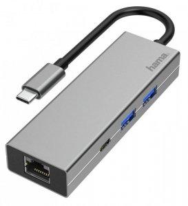 Hub USB Hama multiport USB-C 2xUSB-A 3.2, 1xTYP-C, 1xLAN