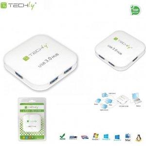 Hub USB Techly IUSB3-HUB4-WH 4 porty 3.0 Super Speed, biały