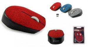 Mysz bezprzewodowa VAKOSS TM-662R TEKSTYLNA optyczna 3 przyciski, 1000dpi czerwona