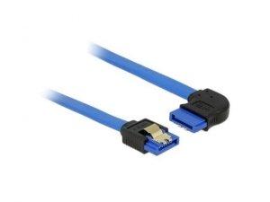 Kabel SATA 0,70m z zatrzaskami metalowymi niebieski kątowy prawo/prosto