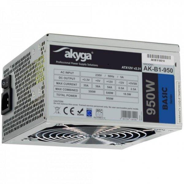 Zasilacz ATX 950W Akyga Basic AK-B1-950 P4+4 PCI-E 6 pin i 6+2 pin 5x SATA 2x Molex APFC FAN 12cm