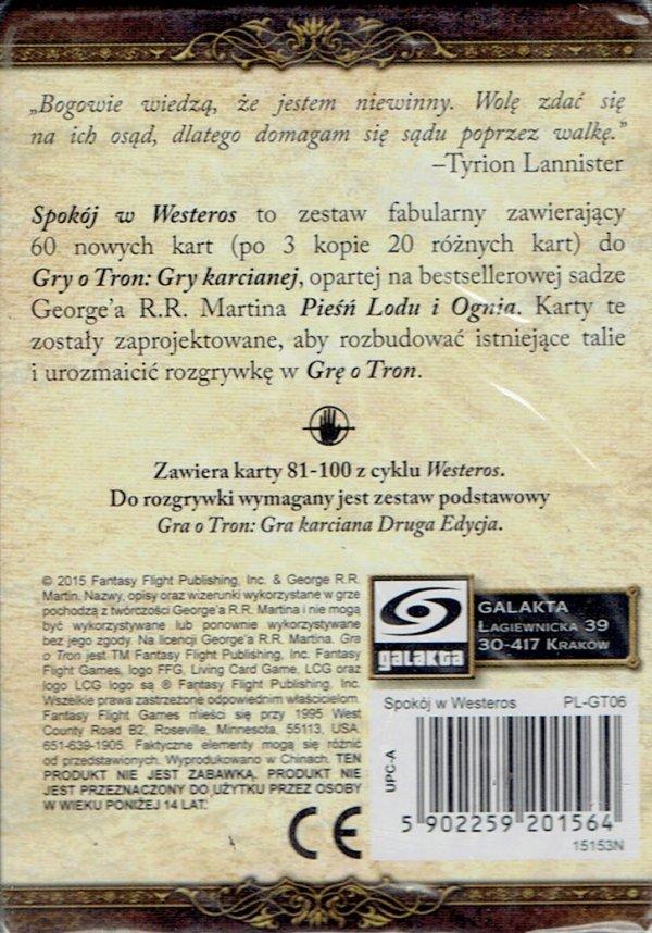 GRA O TRON: GRA KARCIANA 2 ED. CYKL WESTEROS SPOKÓJ W WESTEROS