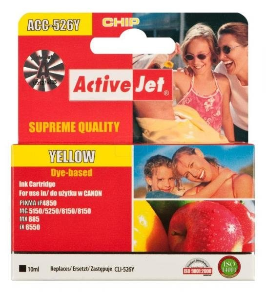Tusz yellow do Canon (zam. CLI-526Y)     (CHIP) ActiveJet ACC-526Y (ACC-526YN)