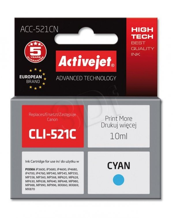 Canon CLI-521 CYAN CHIP ACTIVEJE