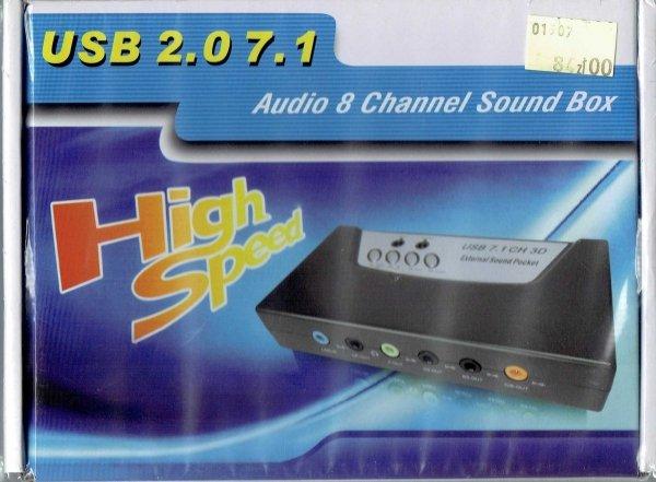 Zewnętrzna 8-kanałowa karta dźwiękowa prózd pudełka