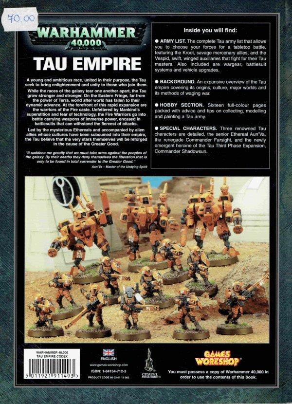 W40k Codex Tau Empire tył okładki
