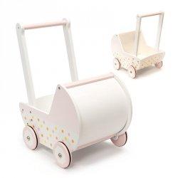 Wózek dla lalek spacerówka gondola drewniany pchacz różowy