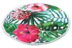 Ręcznik plażowy okrągły duży pled boho kwiaty