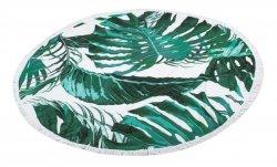 Ręcznik plażowy okrągły duży pled boho liście