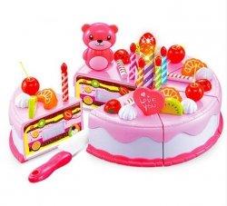 Tort Urodzinowy do Krojenia Kuchnia 38 el. róż