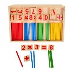 Drewniane Liczydło edukacyjne cyfry + patyczki