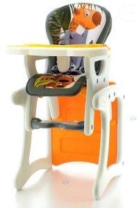 Krzesełko do karmienia i zabawy HB KOMFORT ORANGE 2w1 - wielofunkcyjne i łatwe do czyszczenia