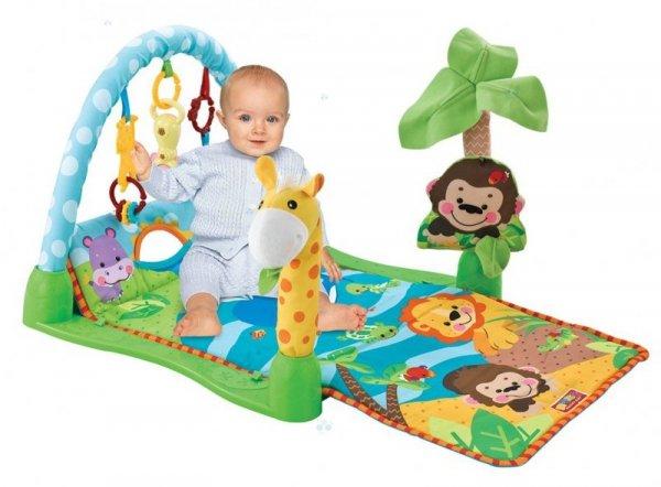 Mata edukacyjna Małpka z siedzącym dzieckiem