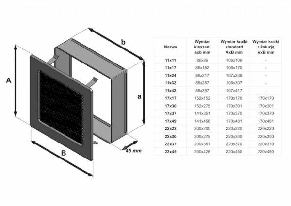 Kratka kominkowa 17x17 czarna