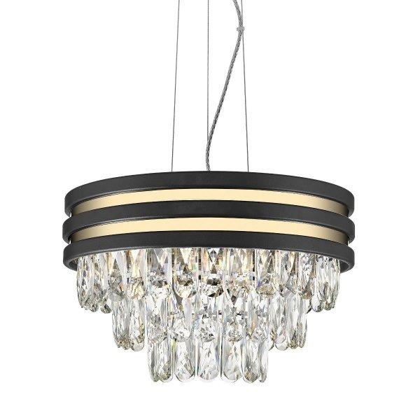 ŻYRANDOL LAMPA WISZĄCA KRYSZTAŁOWA GLAMOUR Z KRYSZTAŁKAMI CZARNO ZŁOTA P0525-04A-P7D7 NAICA
