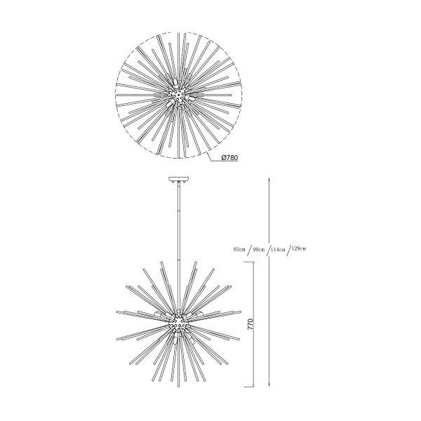 ZUMA LINE LAMPA WISZĄCA OZDOBNA KULA ZŁOTA P0491-09C-F7DY URCHIN